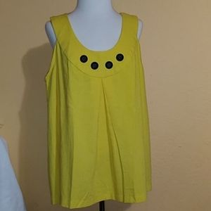 Big Button Yellow/Gold Summer Top Hand Made 1X